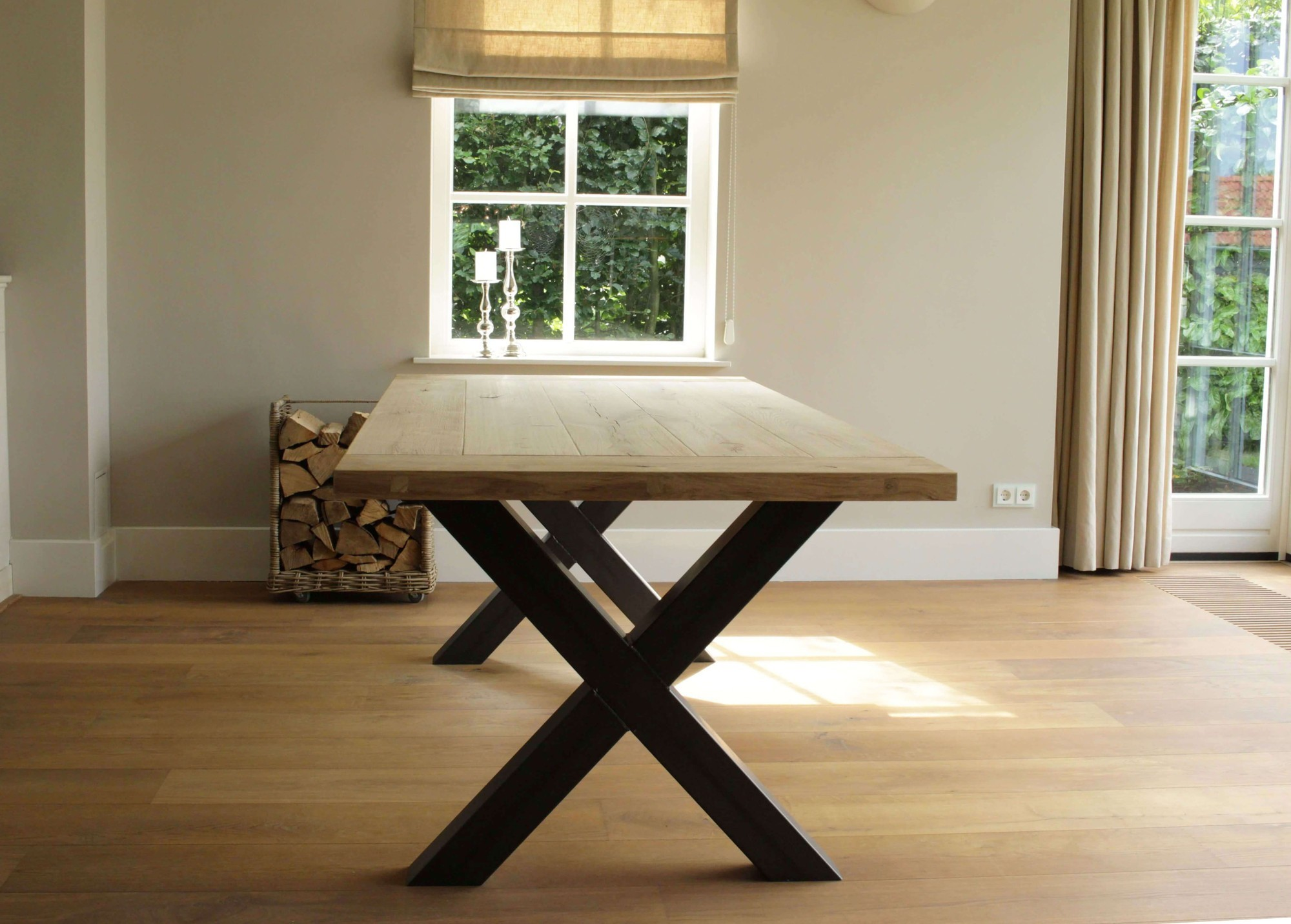 Industriele Tafel Goedkoop : Industriele tafel glasgow met eiken blad shop hier